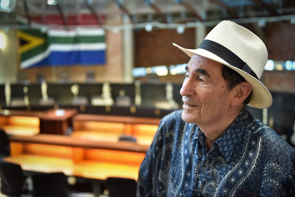 Constitution Hill: Justice Sachs pauses to reflect inside the Constitutional Court.