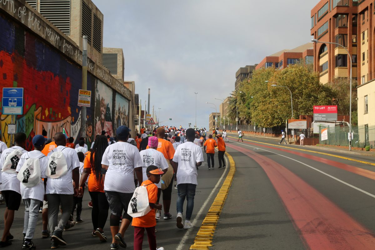 Constitution Hill: Heading up the hill into Braamfontein, with Constitution Hill on the left.