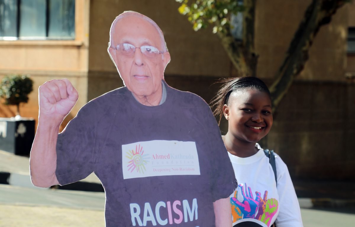 Constitution Hill: A walker poses with a cutout of South African human rights icon Ahmed Kathrada.