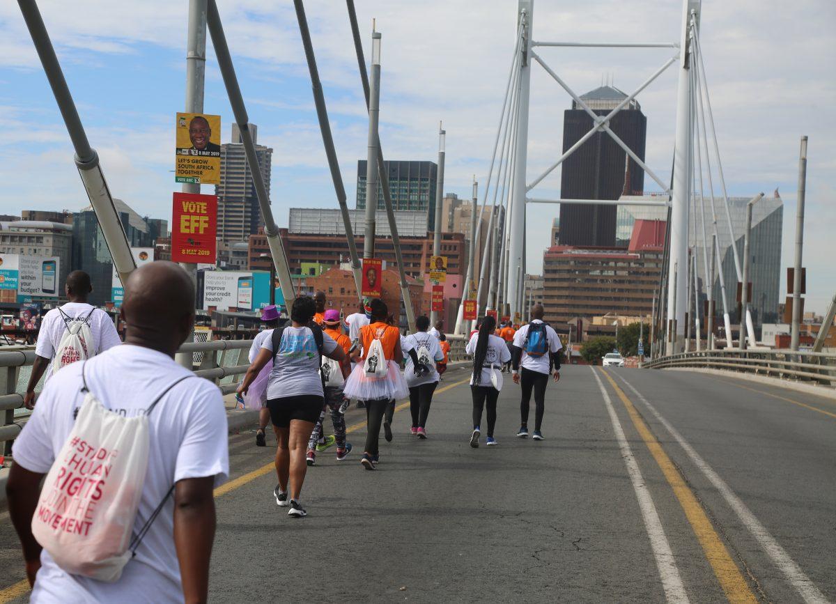 Constitution Hill: Crossing Nelson Mandela Bridge.