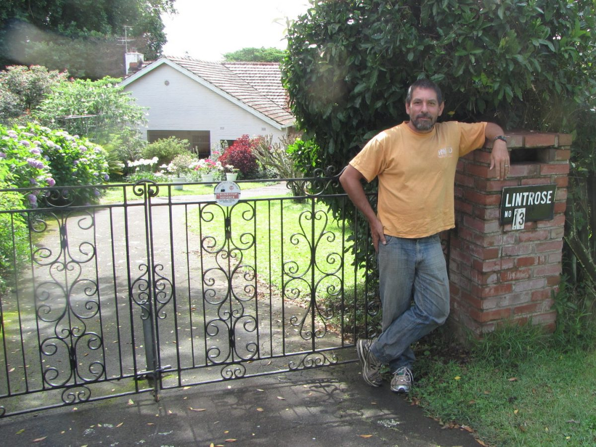Constitution Hill: Anthony in front of Alan Paton's house, Lintrose, in Bothas Hill