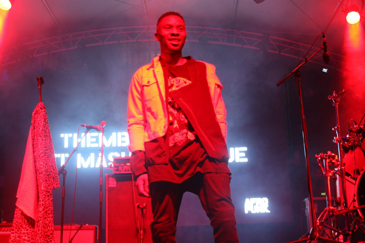 Constitution Hill: Electro-artist Mashayabhuqe KaMamba performed at the Afropunk launch, with DJ Themba Lunacy. (Image: ConHill)