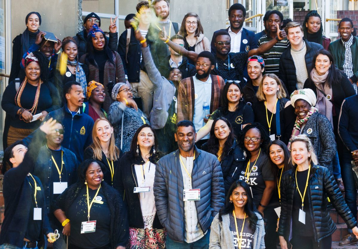 Constitution Hill: Amnesty International South Africa youth activists and supporters with Amnesty International Secretary General, and South African, Kumi Naidoo.