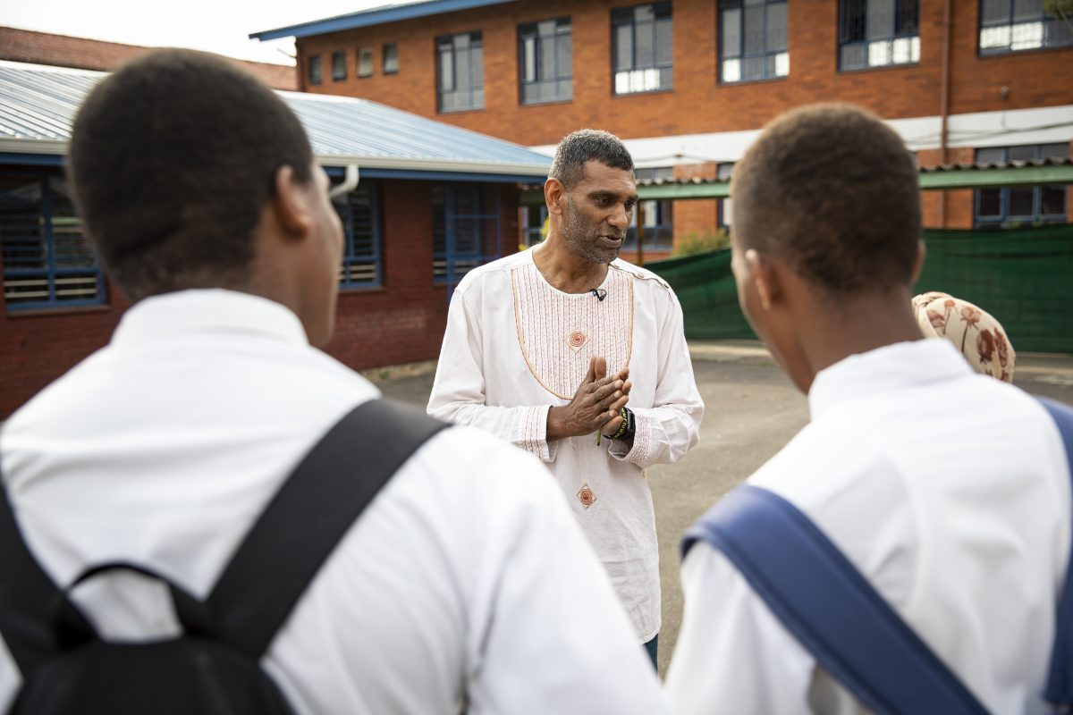 Constitution Hill: Amnesty International Secretary General Kumi Naidoo speaks with learners at his old school in Chatsworth, Durban.