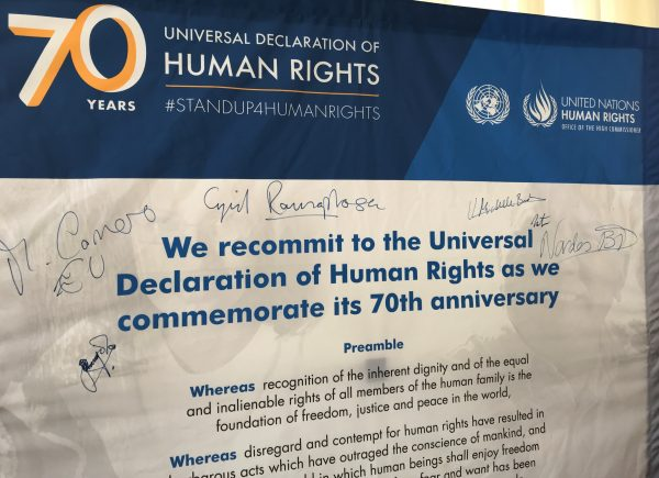 Constitution Hill: President Cyril Ramaphosa's signature on a poster commemorating the Universal Declaration of Human Rights.